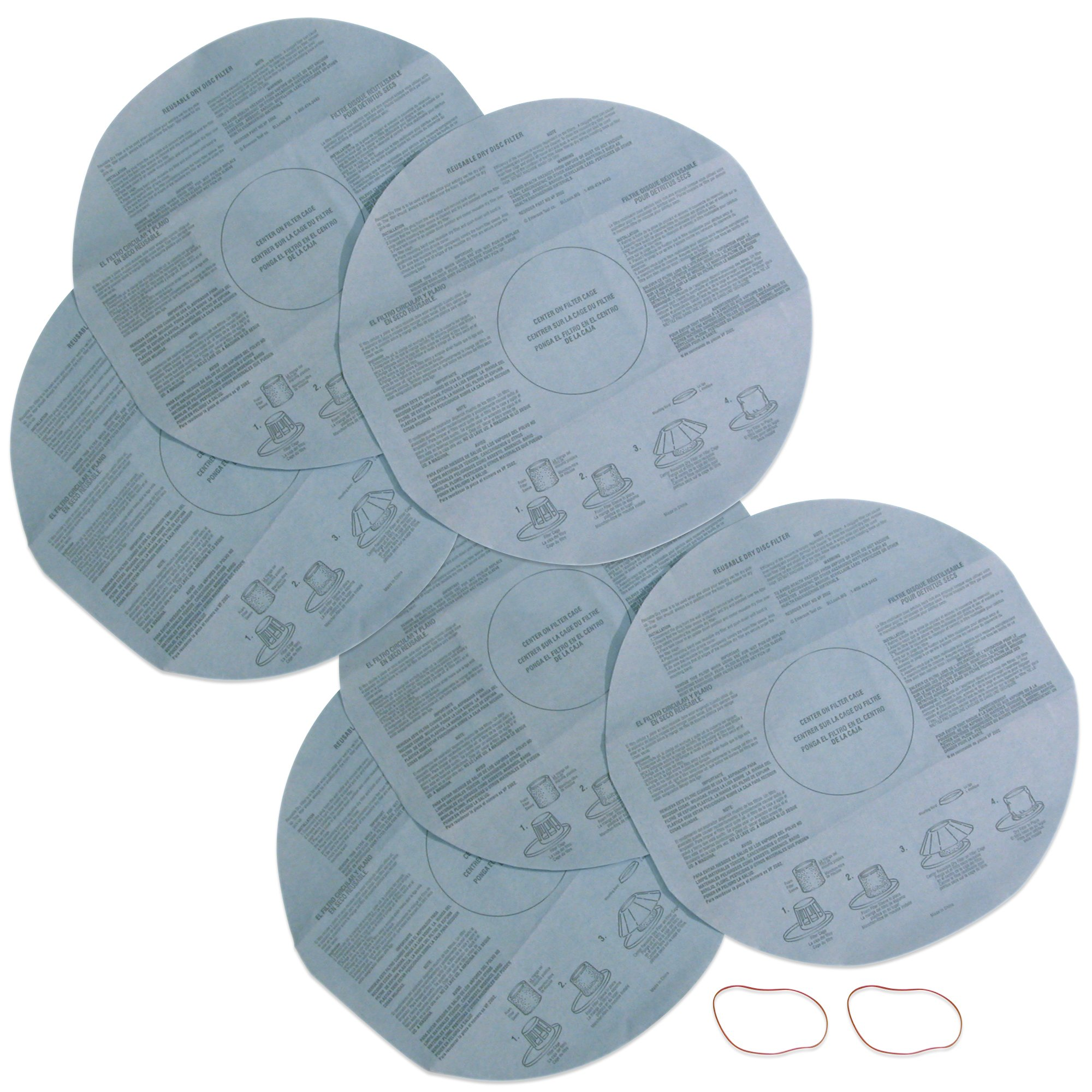 Multi-Fit Wet Dry Vac Filters VF2002TP Dry Vacuum Filters (2-Pack, 6 Shop Vacuum Cleaner Filters With Retaining Band) Dry Disc Filters For Most Shop-Vac, Vacmaster, Genie Shop Vacuum Cleaners by WORKSHOP Wet/Dry Vacs