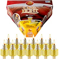 Ner Mitzvah Pre-Filled Menorah Oil Cup Candles - Hanukkah Ohr Lights - 100% Olive Oil with Cotton Wick in Glass Cup - Medium Size, 36 per Pack, Burns Approx. 2 1/2 Hrs