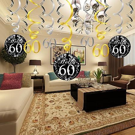 Konsait 60 Cumpleaños Negro Colgar Remolino Decoración De Techo 15 Cuentas Feliz Cumpleaños 60 Mesa Confeti 105 Oz Para Decoraciones De 60