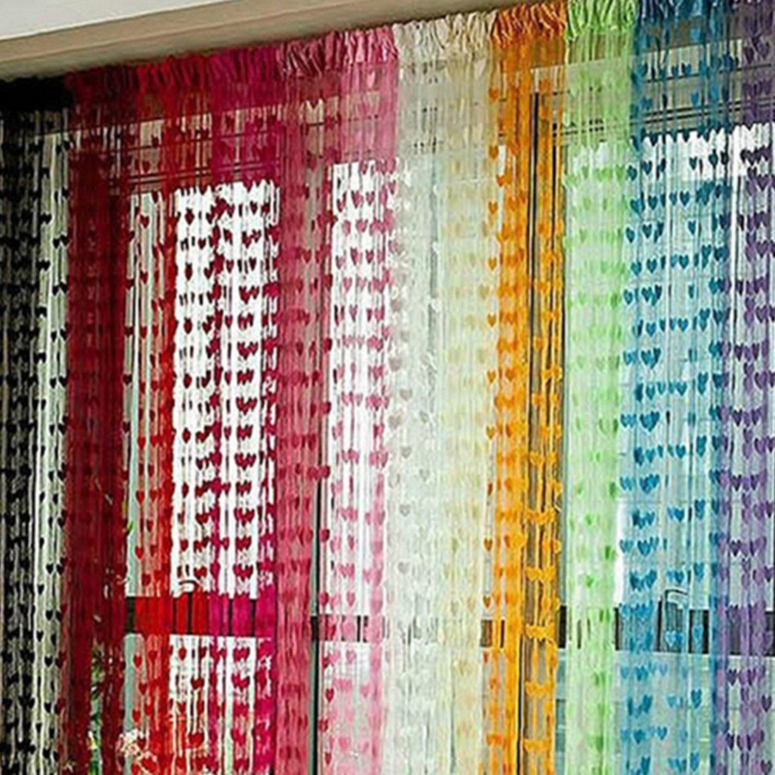 Dise/ño de l/ínea de coraz/ón borla cadena cortina de ventana Fashion rom/ántico decorativo sala de estar cortina de puerta Grass Green Medium