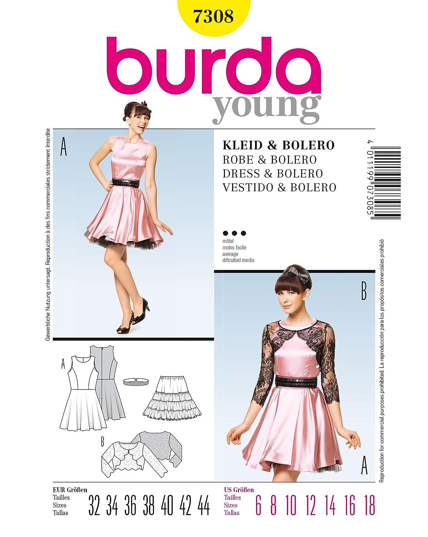Burda 7308 patrón de costura para vestido y Bolero Gr, 32 44-: Amazon.es: Hogar