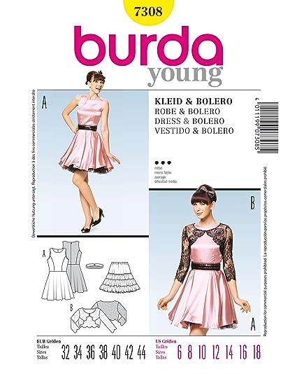 Burda 7308 patrón de costura para vestido y Bolero Gr, 32 44-