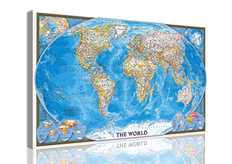 Quadro Moderno Tela Canvas Mappamondo Cartina Mondo 130x80 Cm