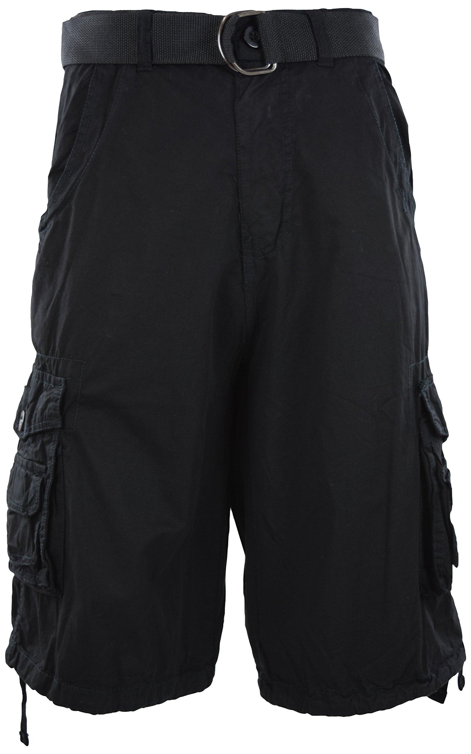 Mens Premium Cargo Shorts with Belt (8 Pockets 32-44 Size) (40, Black)