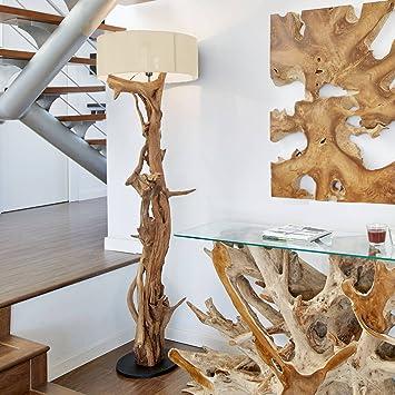 Hochwertige Stehlampe Treibholz BLUMA | Designer Steh-leuchte Teakholz mit  Holz-Zertifikat | Wurzelholz Unikat in Handarbeit | Höhe 180 cm | ...