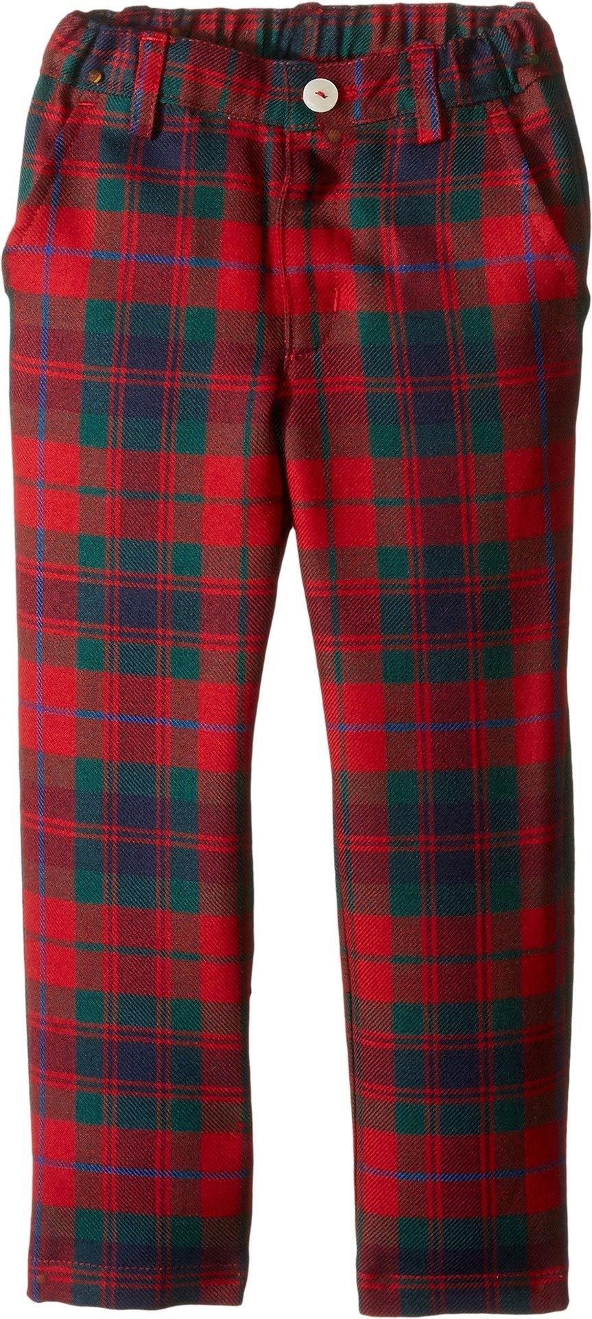 OSCAR DE LA RENTA Childrenswear Baby Boy's Holiday Plaid Wool Classic Slim Pants (Toddler/Little Kids/Big Kids) Ruby Multi Pants