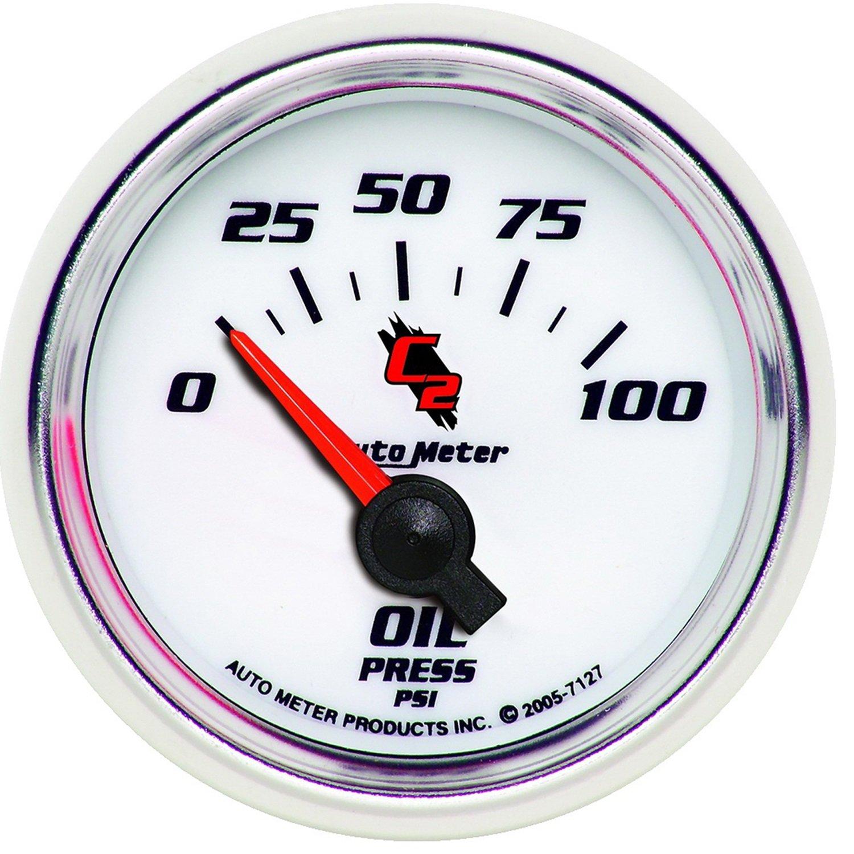 Auto Meter 7127 C2 Short Sweep Electric Oil pressure Gauge by AUTO METER
