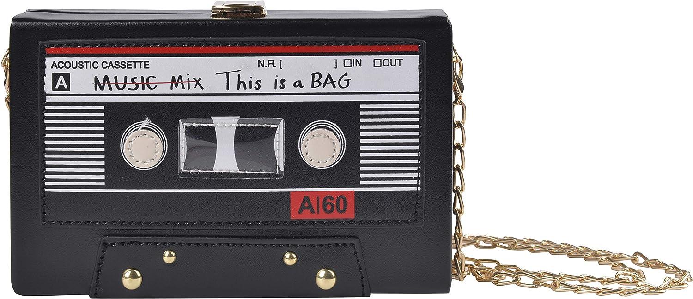 QZUnique Women's Retro Tape Recorder Radio Shaped Shoulder Bag PU Clutch Crossbody Bag Purse Handbag