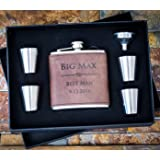 Custom Engraved Hip Flask Set, Personalized Dark Brown Leather Flasks Groomsmen Gift- Box Set- Groomsman Whiskey Gifts For Men, Rustic Customized Gold Vegan 6 oz Wrapped #304 Steel 6pc