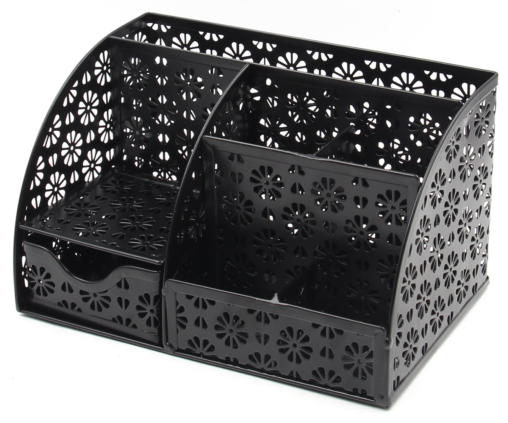 EasyPAG Office Desk Organizer with Drawer Solid Metal Snow Shaped Pattern Design,Black by EasyPag (Image #2)