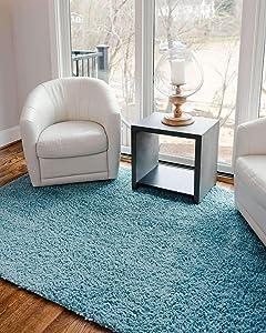 Unique Loom Davos Shag Contemporary Soft Cozy Area Rug, 7' x 10', Aqua
