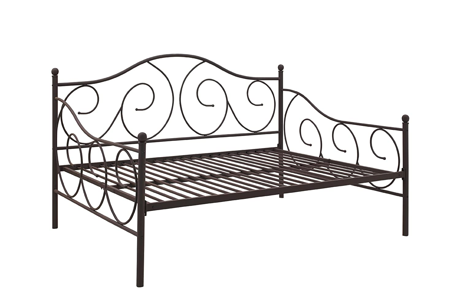 amazoncom dhp victoria full size metal daybed bronze kitchen u0026 dining