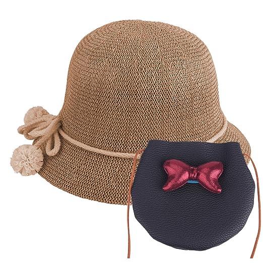 beb1868eeec5 Baby Straw Hat Summer Girls Hat Purse Set Beach Floppy Hats Kids Sun Hat  with Bag