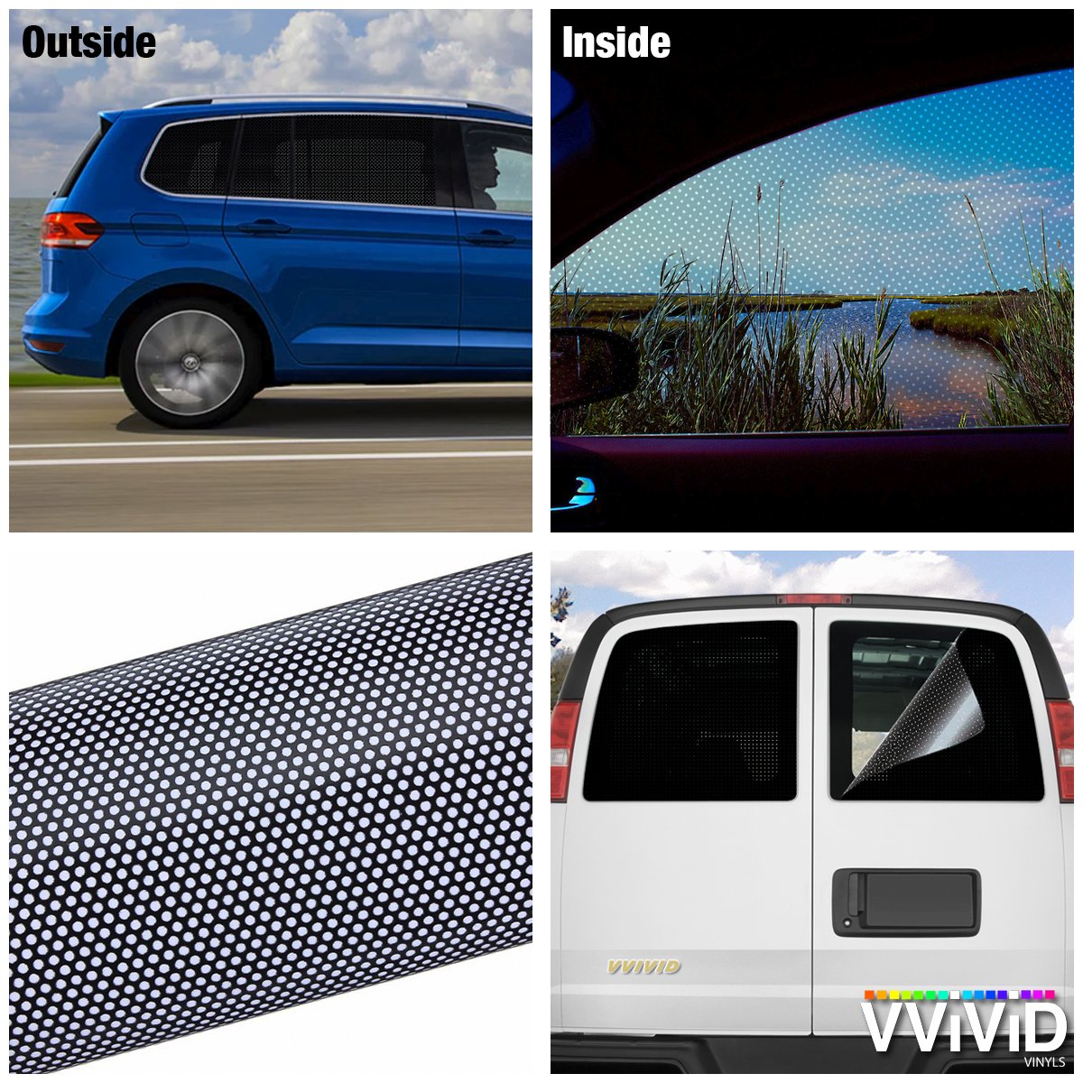 17.9 x 48 VViViD Black Perforated One-Way Vision Vinyl Automotive Window Wrap Roll