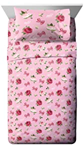 Jay Franco Nickelodeon JoJo Siwa Roses & Bows Twin Sheet Set - Super Soft and Cozy Kid's Bedding - Fade Resistant Polyester Microfiber Sheets (Official Nickelodeon Product)