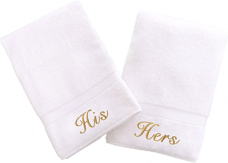 ejemplo de dos toallas de mano de pareja