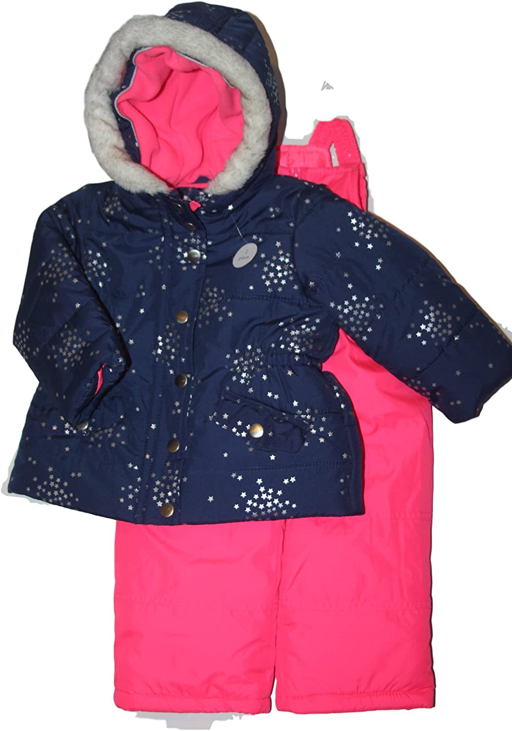Carters Baby Girls Two Piece Snowsuit-Navy//Pink 12M