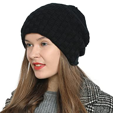 947e02a99aa7 DonDon Women's Winter Beanie Slouch Style with Very Soft Inner Lining -  Black