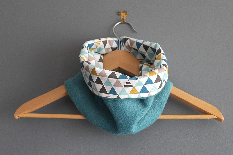 Snood réversible enfant garçon col écharpe tour de cou triangles tissu multicolores polaire bleu turquoise motifs graphiques