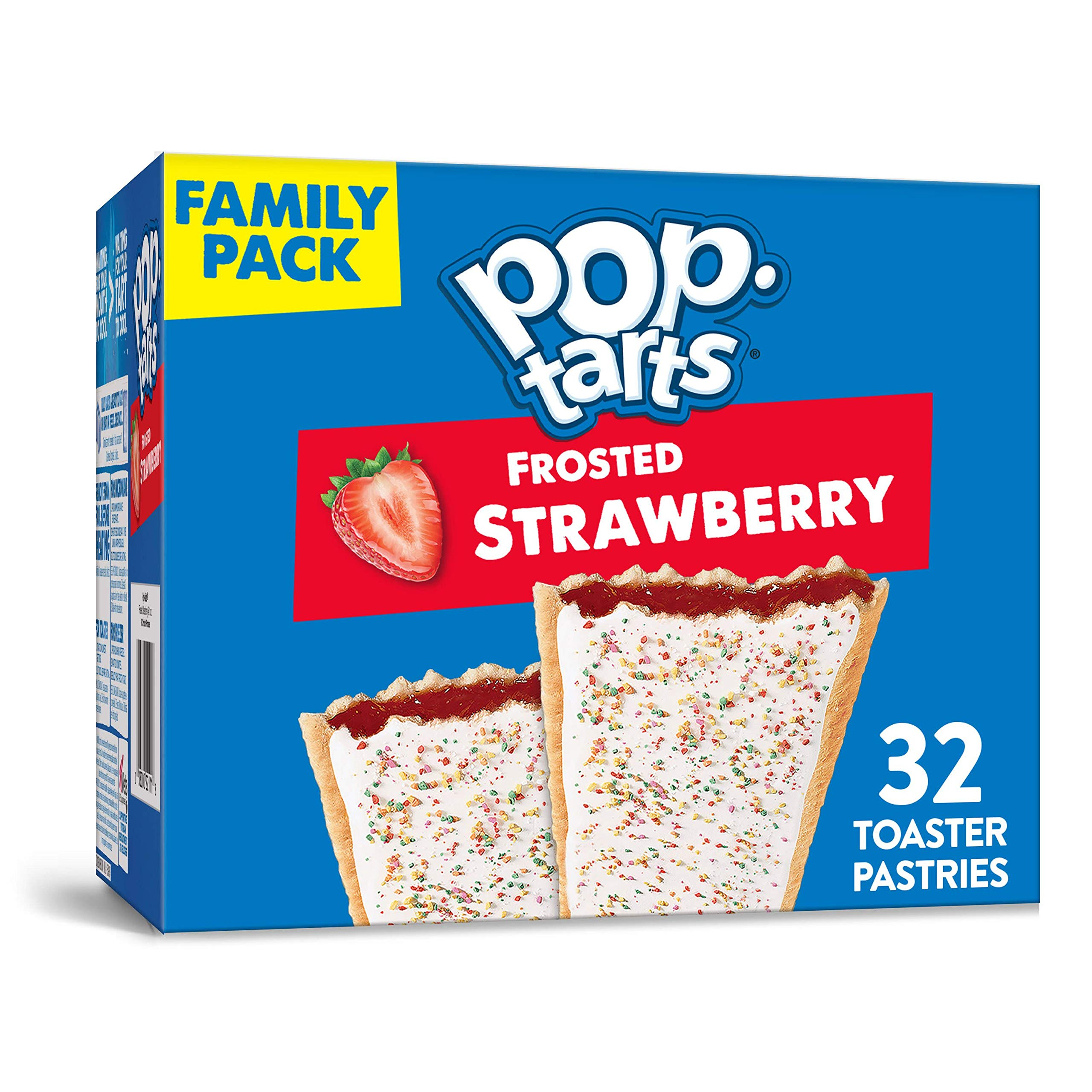 Pop-Tarts, Breakfast Toaster Pastries, Frosted Strawberry, Proudly Baked in the USA, Family Pack, 54.1oz Box (32 Count)