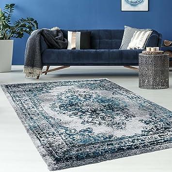 Hochwertiger Teppich Flachflor Orientalisch Klassisch Ornamente Modern Blau  Beige Grau Weiß Wohnzimmer, Größe In Cm