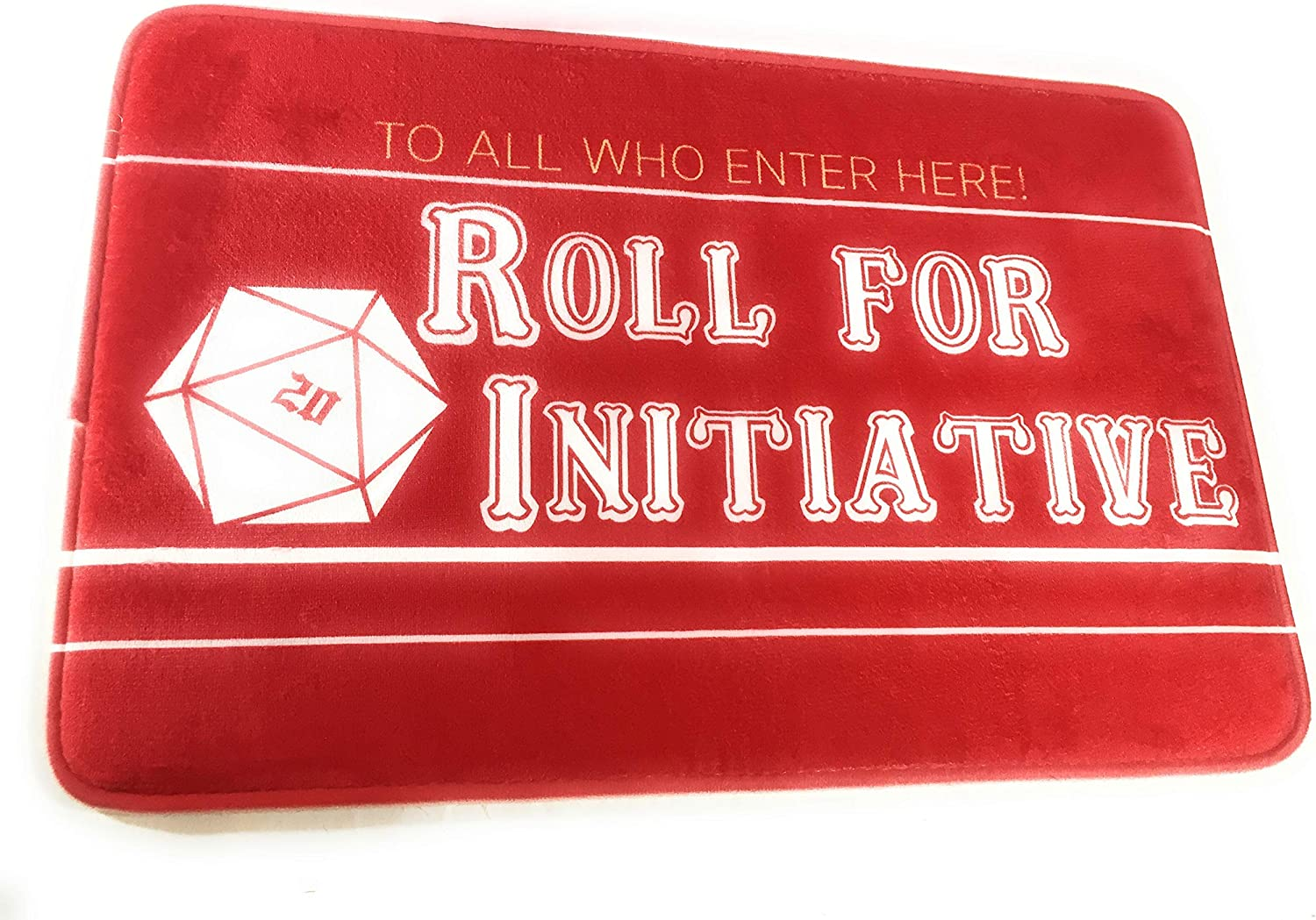 "Roll for Initiative Indoor Doormat RPG Game Room Decor Table Top Role Playing Home Decor 24"" x 16"""