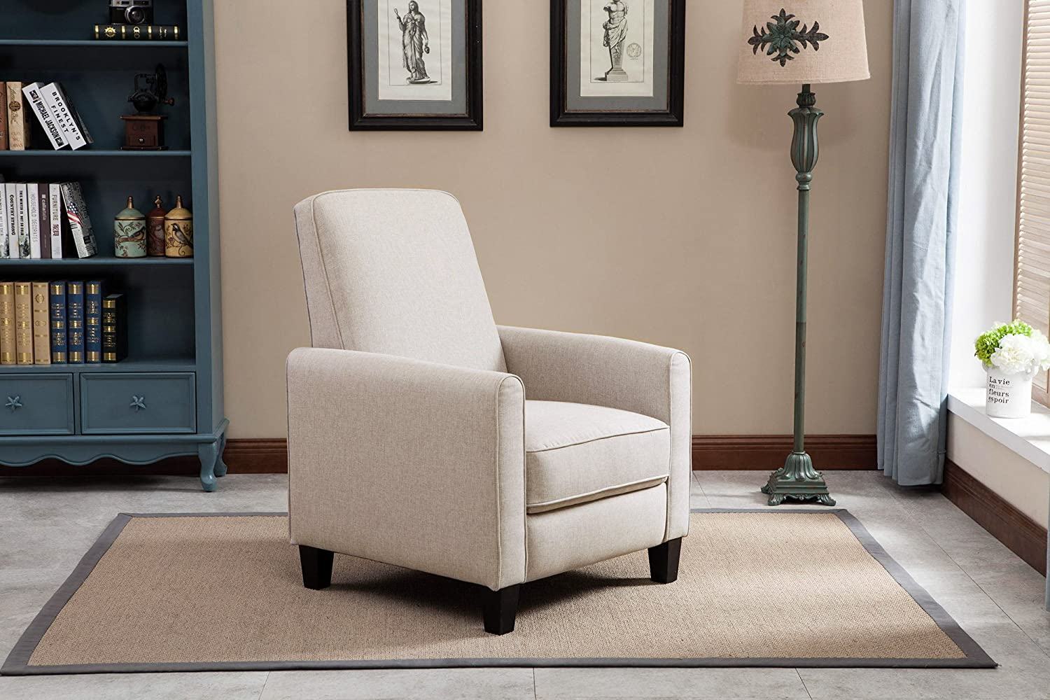 NHI Express Savannah Linen Push Back Full Arm Recliner