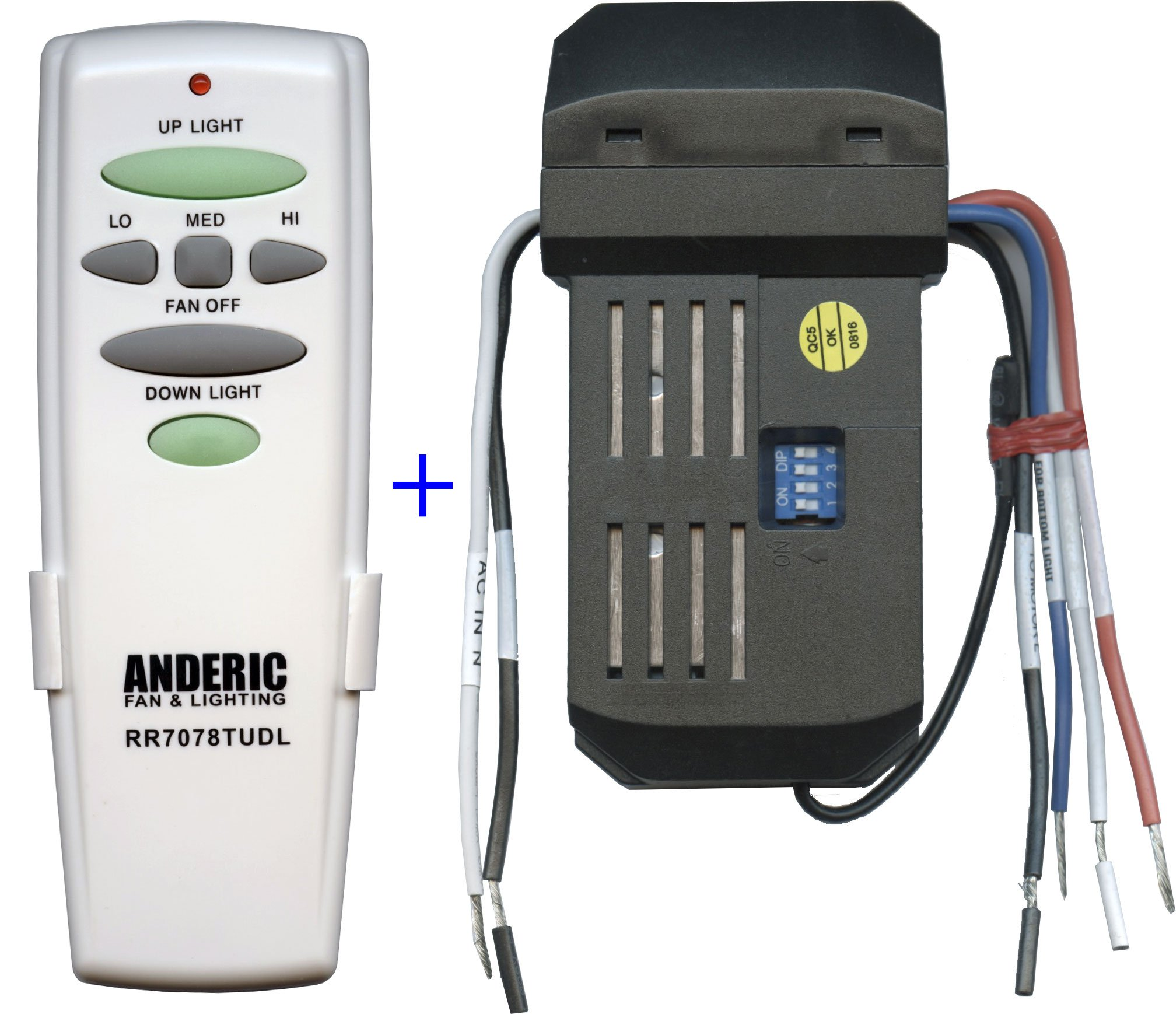 Anderic Replacement Universal Remote Control Conversion Kit with Dimming for Fan with Up and Down Lights - Includes Anderic RR7078TUDL and UC7067GMRX Receiver