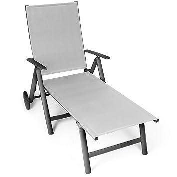 Vanage - Chaise longue - Transat de Jardin avec 2 roulettes - Pliant ...