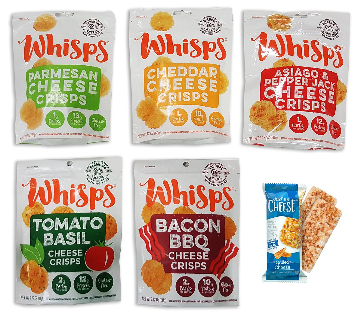 New Flavors: Cello Whisps Assortment Bundle, All 5 Flavors, Just The Cheese 100% Grilled Cheese Bars