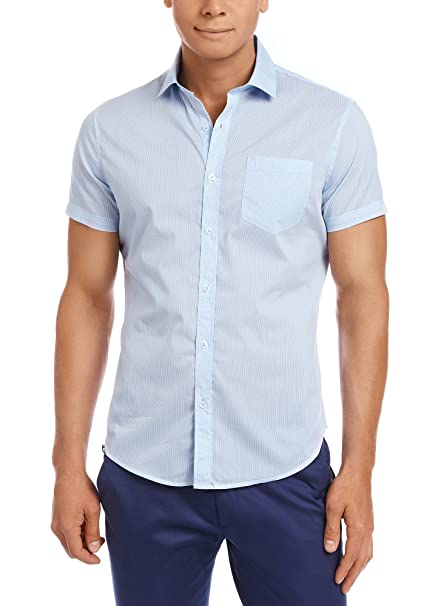 oodji Ultra Hombre Camisa a Rayas Ajustada: Amazon.es: Ropa y accesorios