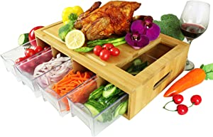 Bamboo Cutting Board With Trays. Multi-functional: 4 drawers can be used as PREP DISHES or for STORAGE. Design with juice grooves, handles, and a large opening to EFFICIENTLY SLIDE food into!