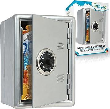 GreatGadgets 1581-1 mini-cámara acorazada del banco de moneda Plata: Amazon.es: Juguetes y juegos