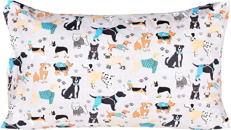 Pillowcase Bedding Set Fitted Sheet Flat Sheet J-pinno Dogs Puppy Twin Sheet Set for Kids Boy Children,100/% Cotton