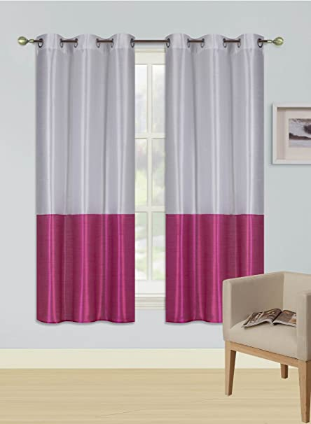 PINK WHITE 1 SILKY 2 TONE SOLID GROMMET FAUX SILK WINDOW CURTAIN PANEL HEIDI L