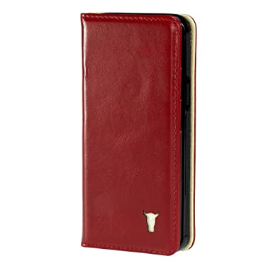 watch 03fe4 550bc TORRO Premium Leather Case compatible with iPhone XS. Genuine Leather Case  Cover with Stand function for Apple iPhone X and iPhone XS - Red Leather ...