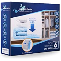 Vacpakgenie Vacuum storage bags pack of 6 (2 Jumbo,2 Large,2 Medium),sealer bags for pillows, clothes, double duvet…