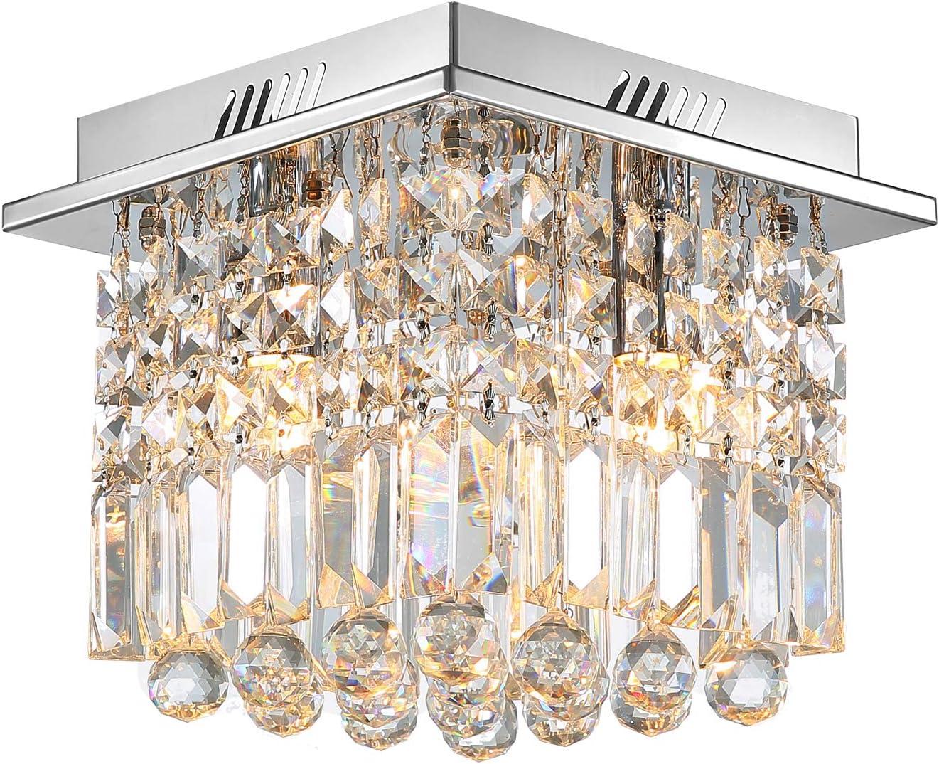 Crystal Ceiling Light Modern Square Chandelier Lighting for Hallway Entrance W10 x H10 Raindrop Design