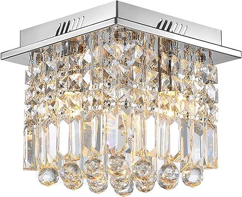 SILJOY Mini Modern Square Crystal Ceiling Light Raindrop Chandelier Flush Mount Ceiling Light for Hallway Entrance W10 x H10