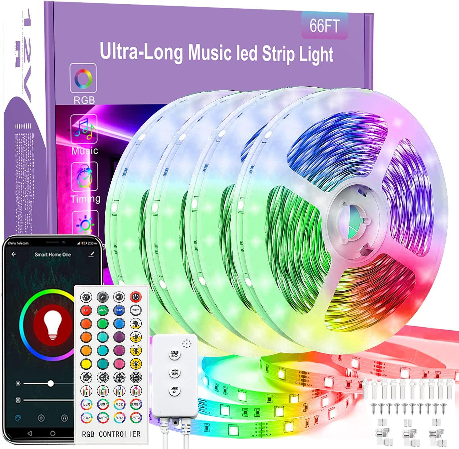 65.6Ft Smart LED Strip Lights ,RUISHINE RGB LED Lights Strip Sync to Music Color Changing Built-in Mic, App Control Rope Lights with Remote for Party, Bedroom and Home