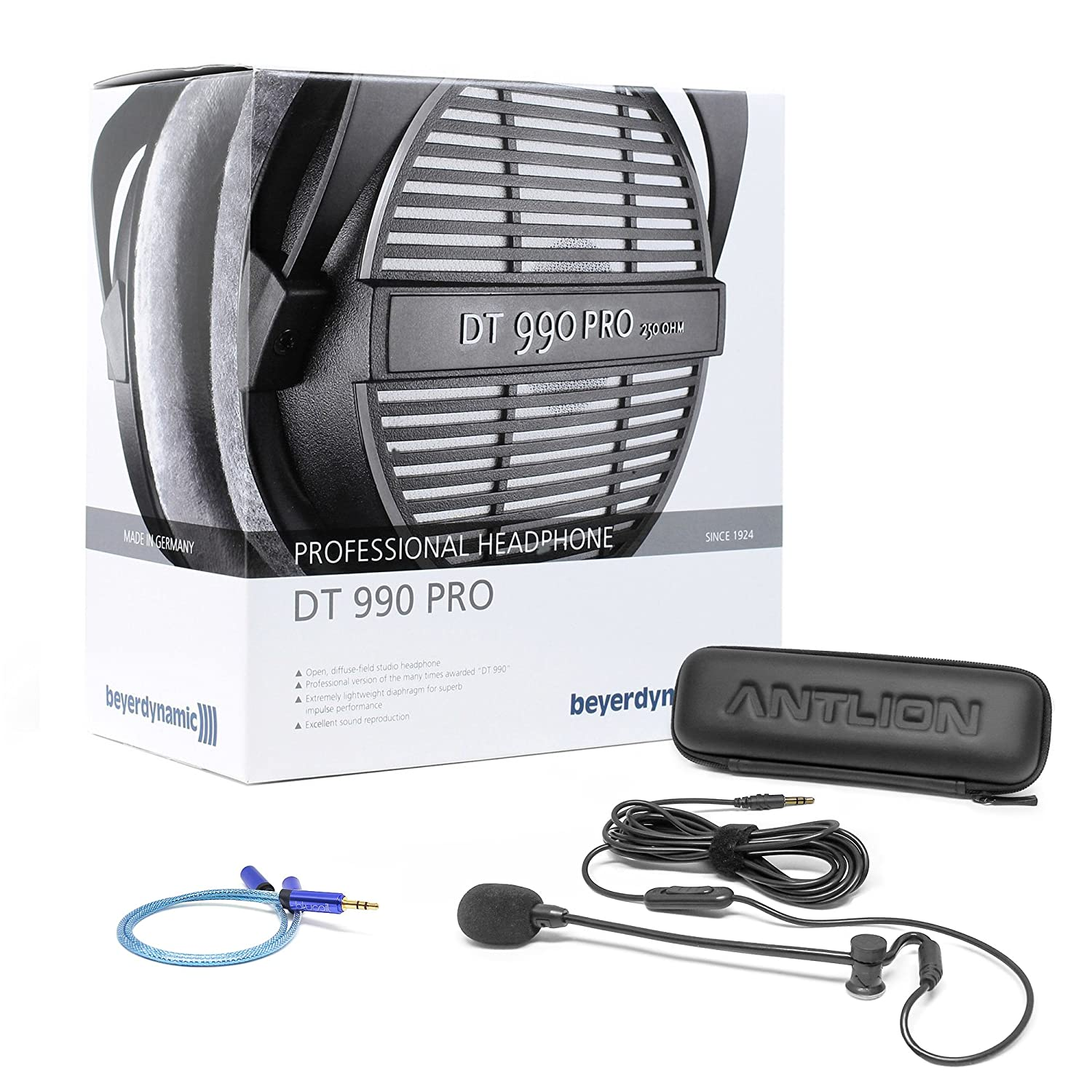 Beyerdynamic Dt 990 Pro 250 Ohm Open Studio Headphone Electret Mic Wiring Moreover Element Microphone Boom Bundle Includes Antlion Audio Modmic Attachable Noise Cancelling Mute