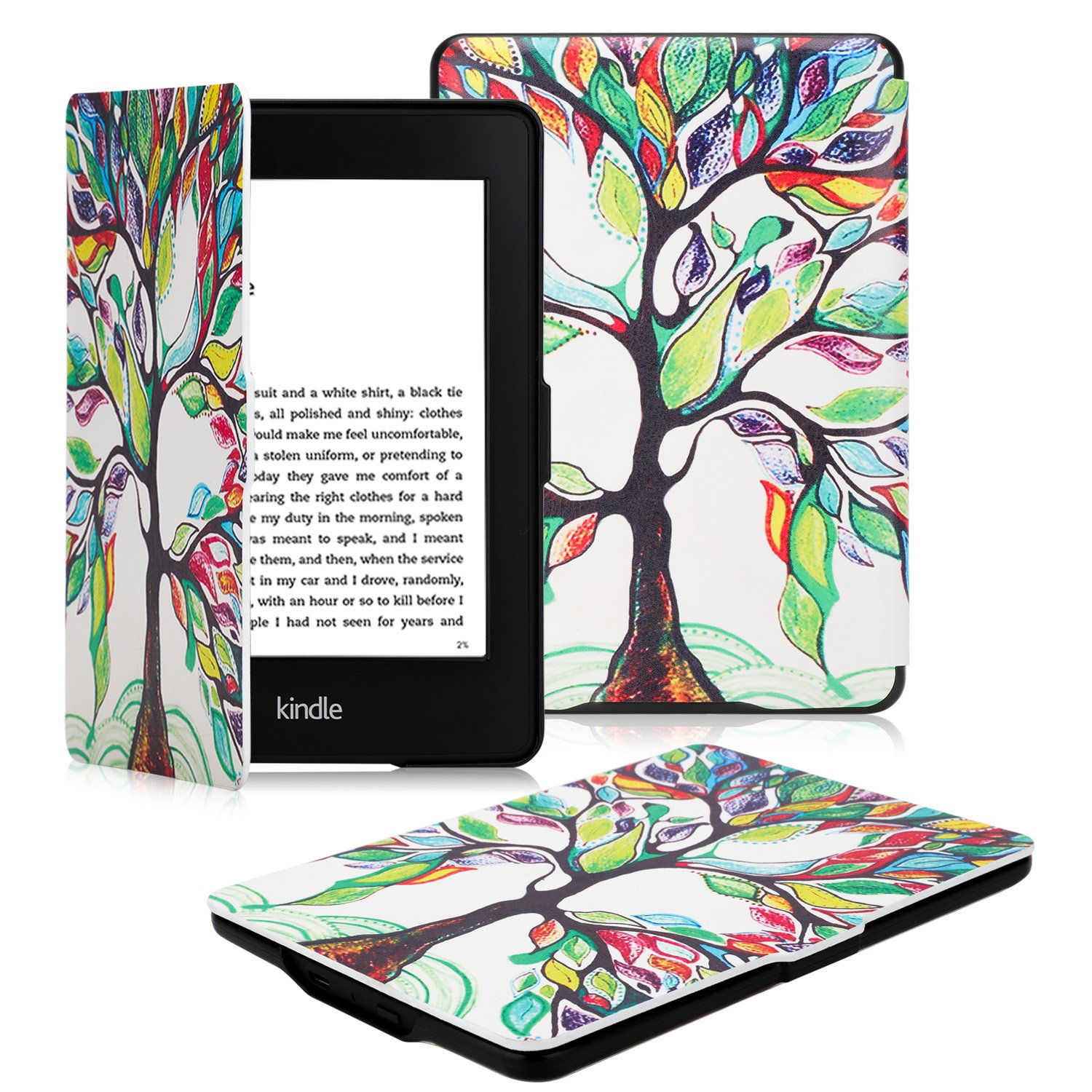 OMOTON Kindle Paperwhite Case Cover - The Thinnest Lightest PU Leather Smart Cover All-New Kindle Paperwhite (Fits All Versions: 2012, 2013, 2014 2015 All-New 300 PPI Versions), Love Tree