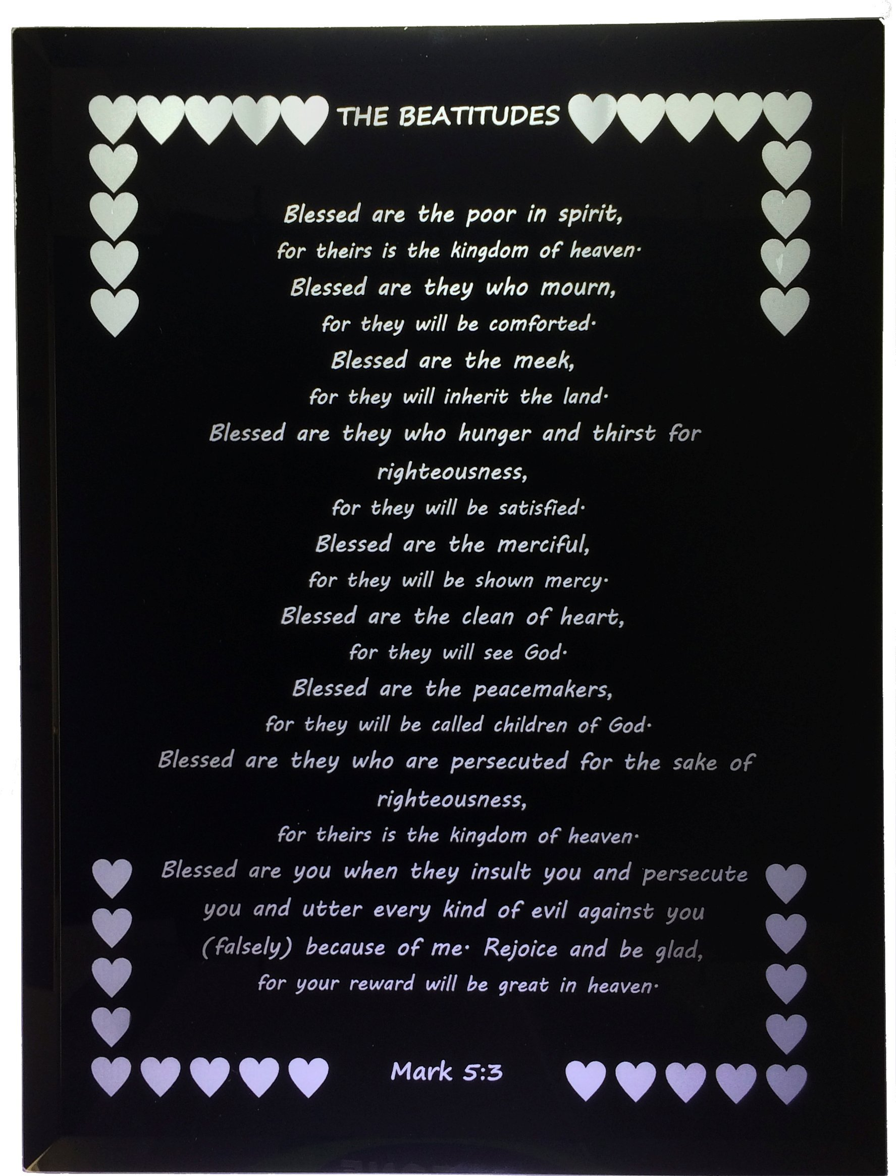Beatitudes - Mark 5:3 Black Mirror Reverse Engraved in USA 9'' By 12''