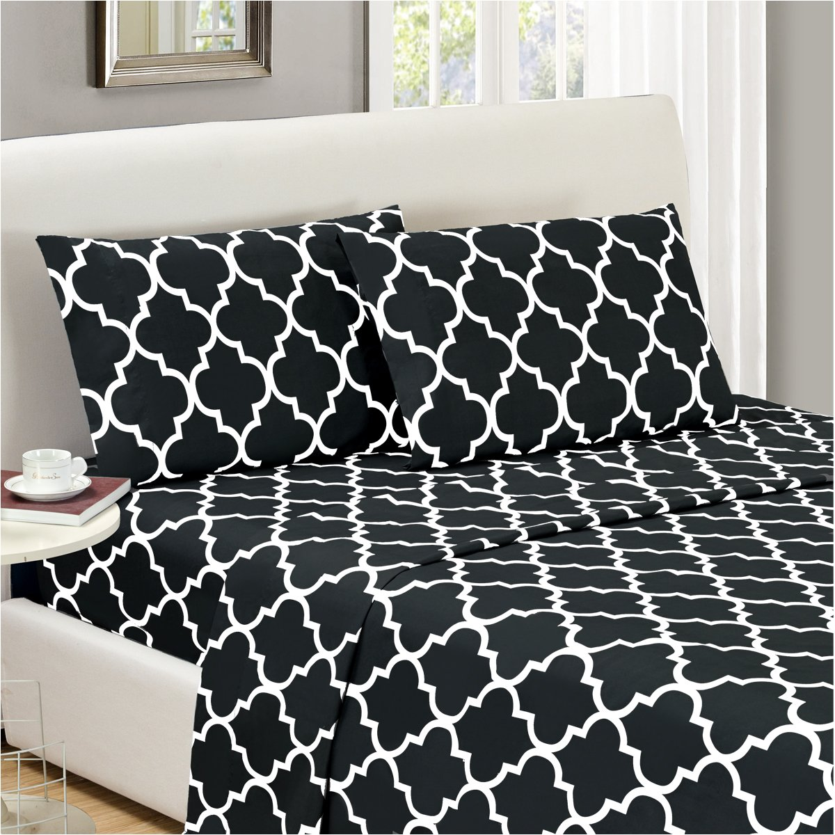 4 Piece King, Quatrefoil Black