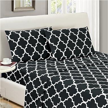 Mellanni Bed Sheet Set Full-Black Brushed Microfiber Printed Bedding - Deep Pocket, Wrinkle, Fade, Stain Resistant - Hypoallergenic - 4 Piece (Full, Quatrefoil Black)