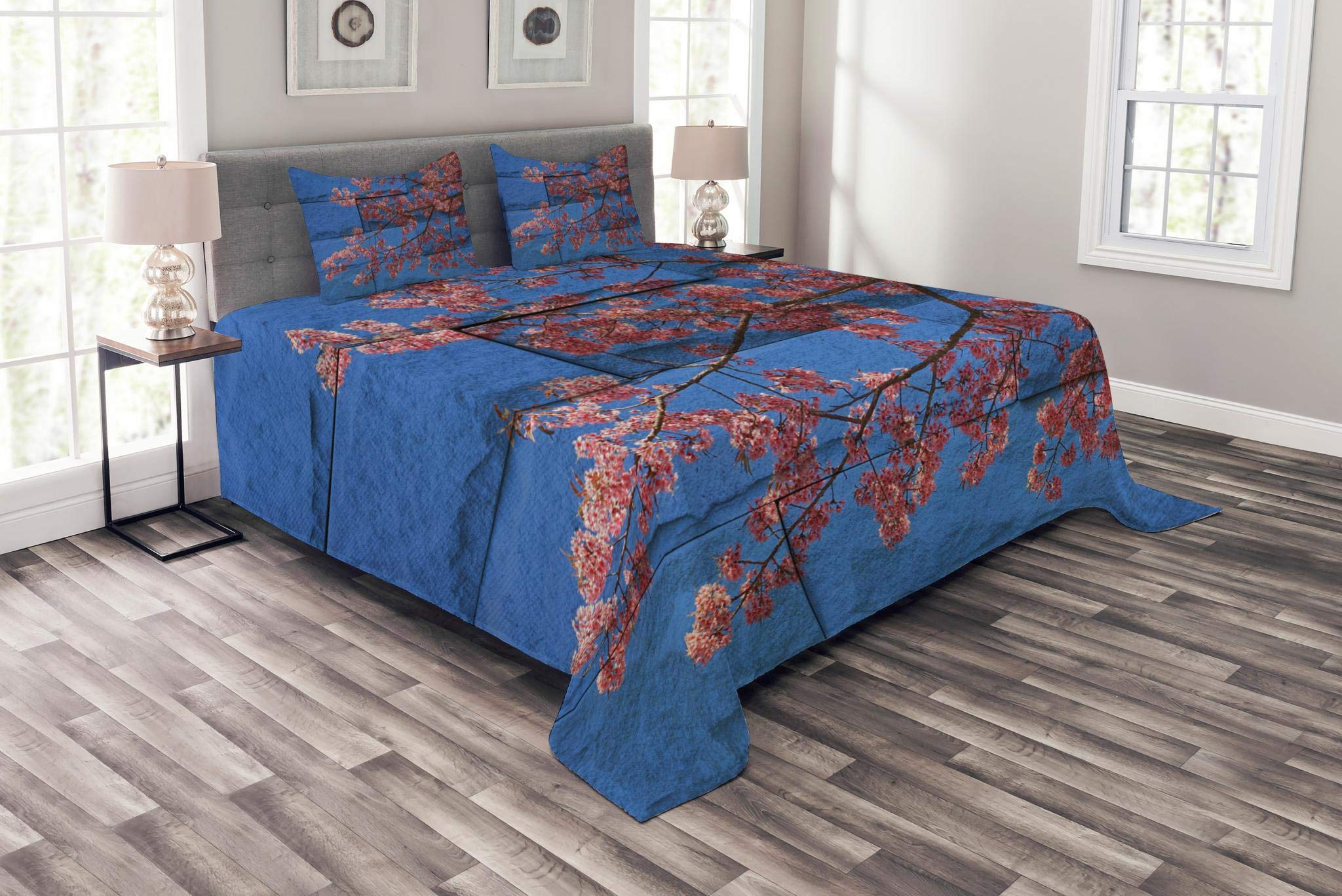 Lunarable Brick Wall Bedspread Set Queen Size, Thai Sakura Blossom Mural Branch with Flowers Spring Floral Eastern Beauty Print, Decorative Quilted 3 Piece Coverlet Set with 2 Pillow Shams, Pink Blue