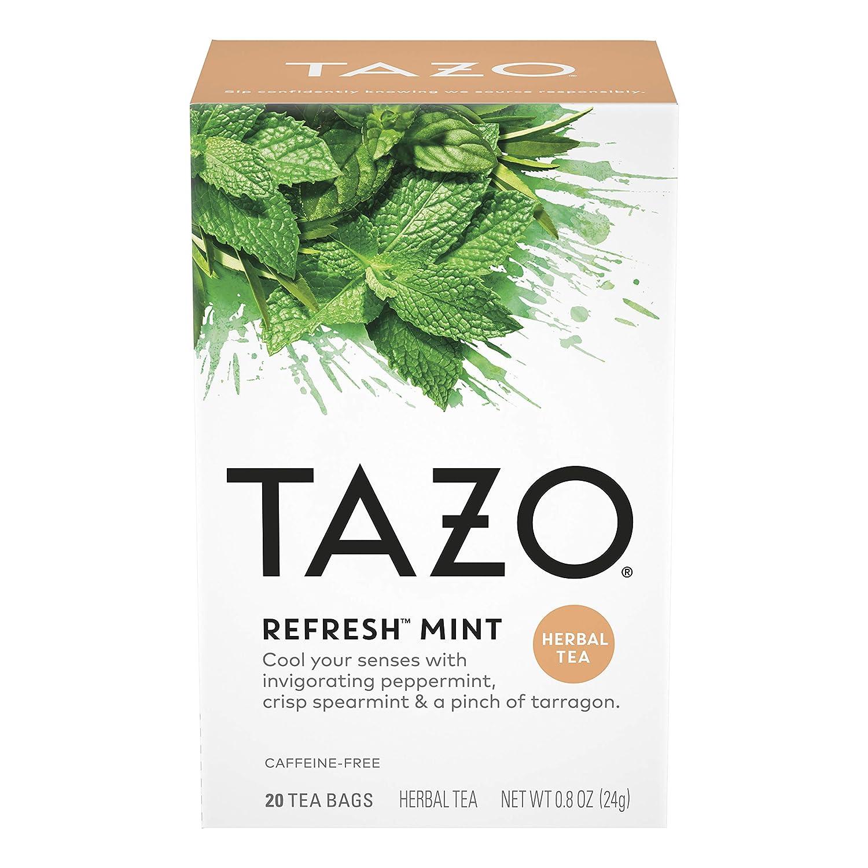 Tazo Herbal Tea Tea Bags For a Refreshing Beverage Refresh Mint Caffeine-Free 20 Tea Bags (6 pack)