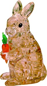 BePuzzled Original 3D Crystal Jigsaw Puzzle - Rabbit with Carrot Animal Assembly Brain Teaser, Fun Model Toy Gift Decoration for Adults & Kids Age 12 & Up, 43Piece (Level 2)