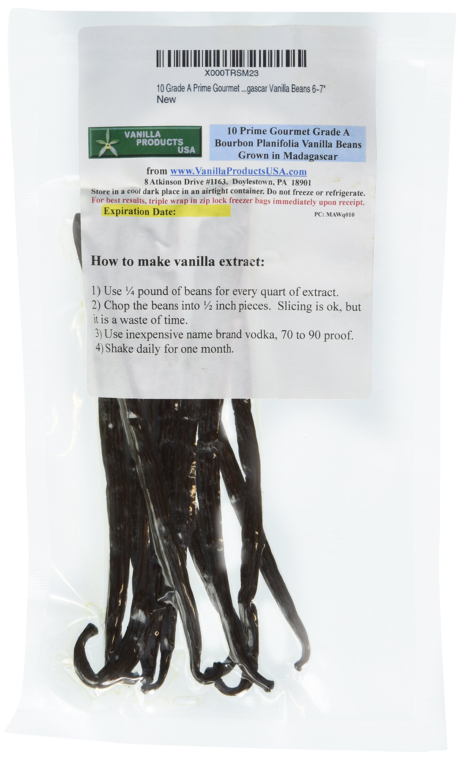 Vanilla Products USA 10 Grade A Prime Gourmet Madagascar Vanilla Beans 6~7''