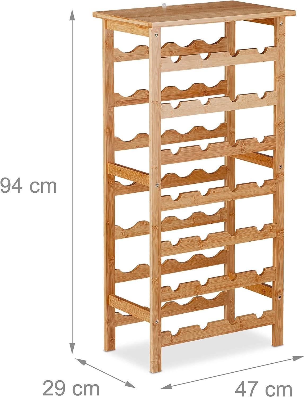 Getr/änkeregal f/ür 28 Flaschen HBT: 94 x 47 x 29 cm Relaxdays Weinregal Bambus Keller natur K/üche /& Bar mit Ablage